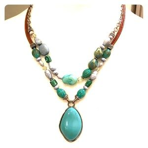 Beautiful turquoise necklace on leather strings